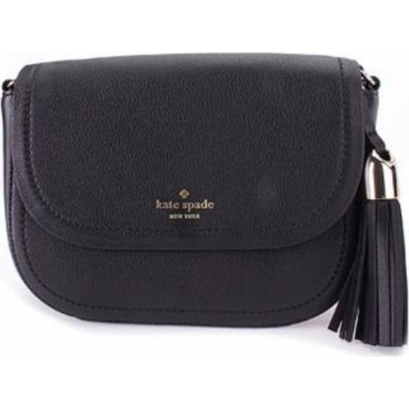 presenting lovely luster amazing selection Kate Spade Black Leather Tassel Saddle Crossbody